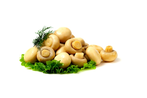 Marynowane grzyby, na białym stole, marynowane grzyby, pozioma kopia.
