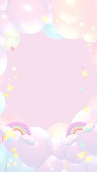 Marzycielskie pastelowe tęczowe chmury i gwiazdy niebo 3d renderowany obraz w pionie