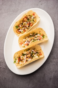 Masalaã'â papad tacosã'â to indyjska przystawka w stylu meksykańskiego taco