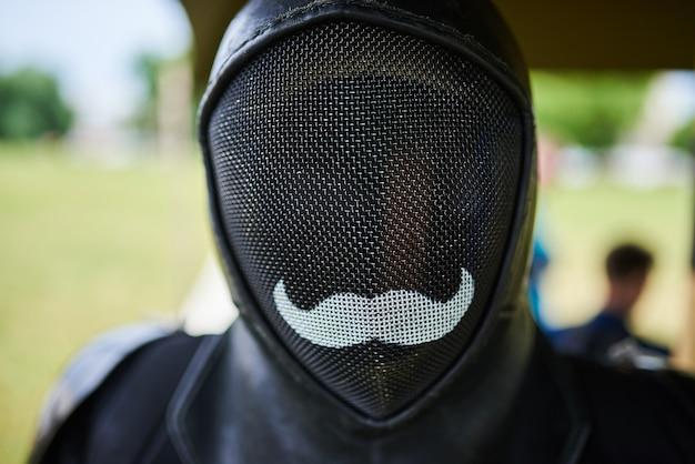Maska szermiercza czarna z wąsami