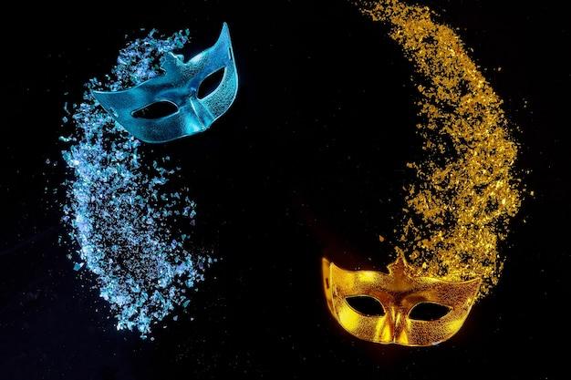 Maski do świętowania karnawału świątecznego. żydowskie purim lub mardi gras.