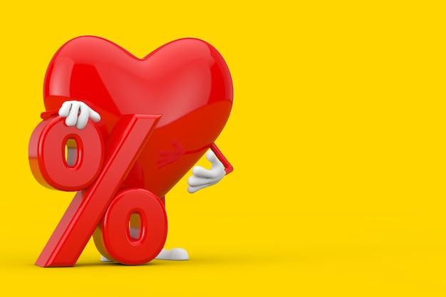 Maskotka charakter czerwone serce z czerwonym procent sprzedaży detalicznej lub znak rabatu na żółtym tle. renderowanie 3d