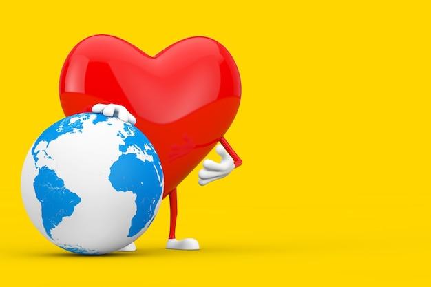 Maskotka charakter czerwone serce z kuli ziemskiej na żółtym tle. renderowanie 3d