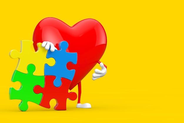 Maskotka postaci czerwone serce z czterema kawałkami kolorowych puzzli na żółtym tle. renderowanie 3d