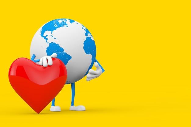 Maskotka znaków kuli ziemskiej z czerwoną ikoną serca na żółtym tle. renderowanie 3d
