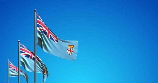 Maszt flagowy 3d lecący fidżi po błękitnym niebie