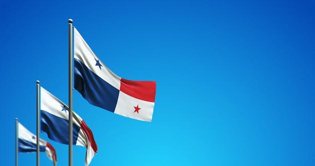 Maszt flagowy 3d lecący w panamie i na niebieskim niebie