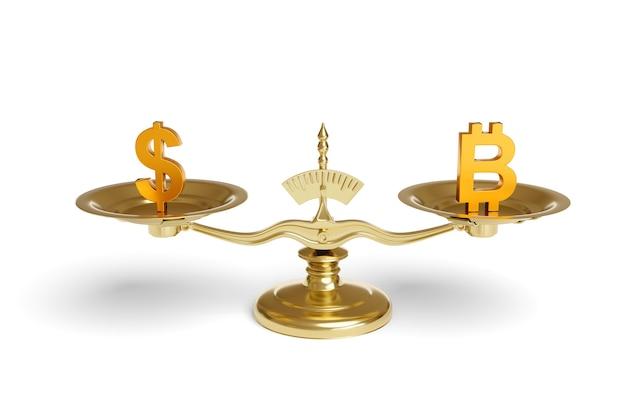 Maszyna do ważenia ze znakami dolara i bitcoin na ich płytach izolowana.