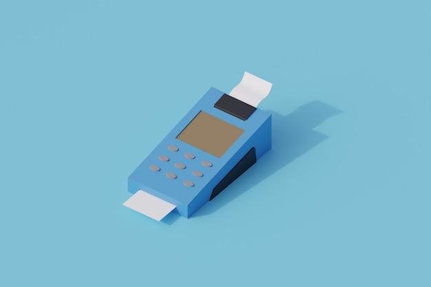 Maszyna płatnicza nfc pojedynczy izolowany obiekt. 3d render ilustracji izometryczny