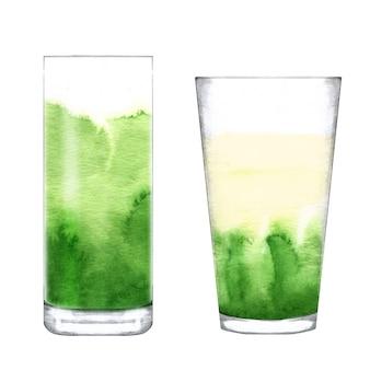 Matcha latte w szklance