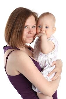 Matczyna miłość. słodkie dziecko 8 miesięcy z matką. 8 miesięcy