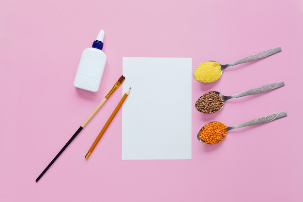 Materiały do tworzenia obrazu przy użyciu różnych zbóż. koncepcja wypoczynku dla dzieci.