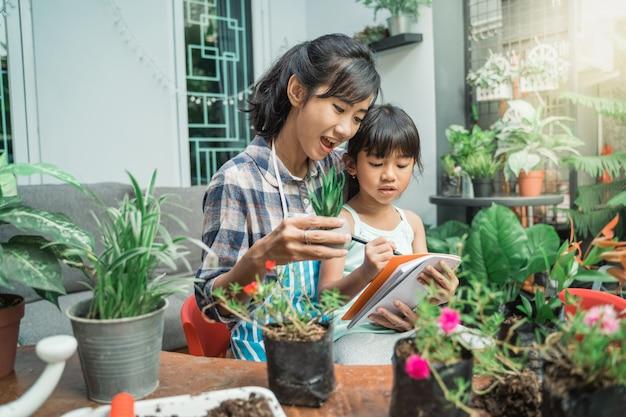 Matka i córka ogrodnictwo i studia