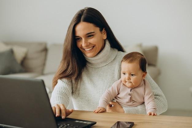 Matka z córeczką pracuje na komputerze w domu