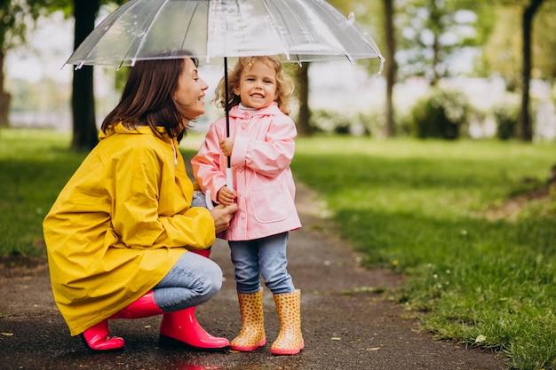Matka z córką spaceru w deszczu pod parasolem