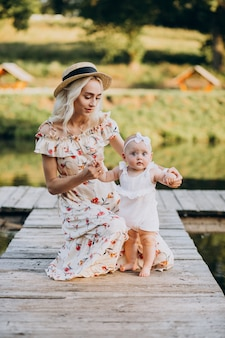 Matka z małą córeczką nad jeziorem