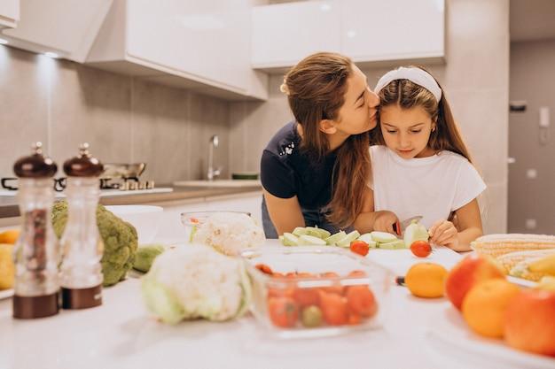 Matka z małą córką gotuje wpólnie przy kuchnią