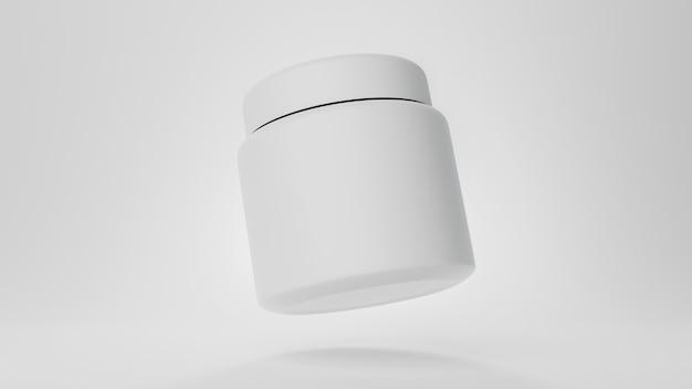 Matowy plastikowy słoik pusty na białym tle widok czcionki renderowania 3d