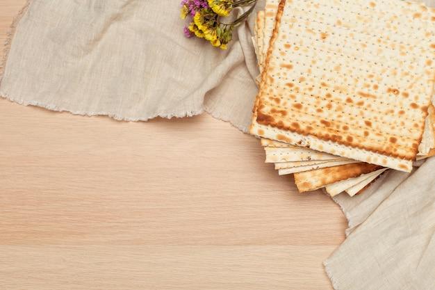 Matzo, matzoth for jewish passover, wooden
