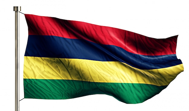 Mauritius flaga narodowa pojedyncze 3d białe tło