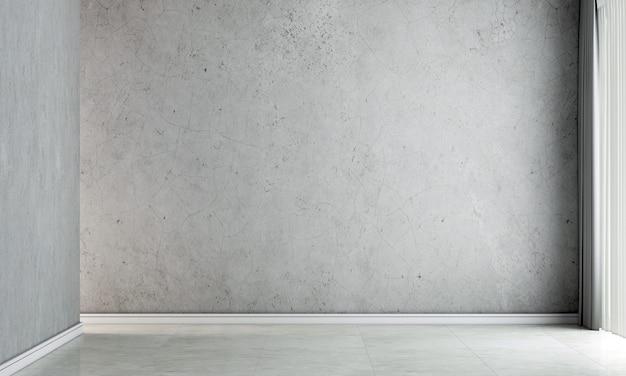 Meble do domu i dekoracji makiety wnętrza pustego salonu i minimalistycznego stylu sofy oraz pustej betonowej ściany w tle renderowania 3d