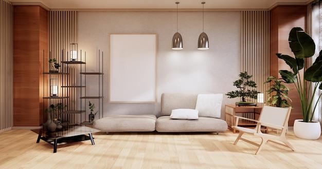 Meble do sofy, nowoczesny pokój w stylu japońskim, renderowanie minimal.3d