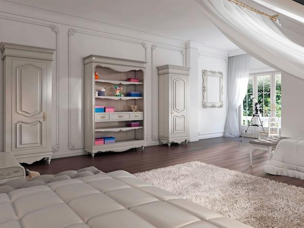 Meble dziecięce w stylu prowansalskim w klasycznym pokoju dziecięcym. dwie szafki i półki na książki i zabawki. renderowania 3d.
