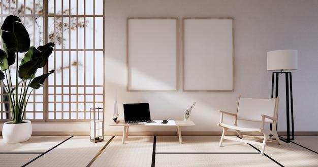 Meble na sofę i makieta nowoczesny projekt pokoju minimal. renderowanie 3d