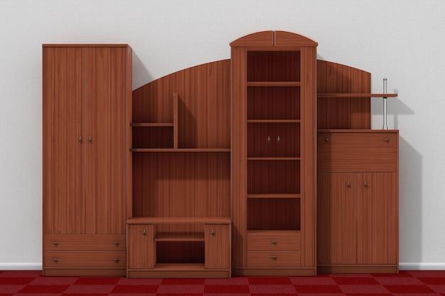 Meblościanka do salonu przed ekstremalnym zbliżeniem white wall. renderowanie 3d