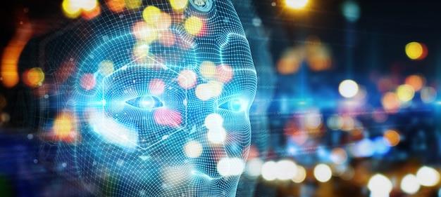 Mechaniczna mężczyzna cyborga twarz reprezentuje sztucznej inteligenci rendering 3d
