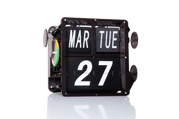 Mechaniczny kalendarz retro data 27 marca, na izolowanym światowym dniu teatru.
