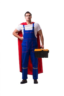 Mechanik super bohater na białym tle
