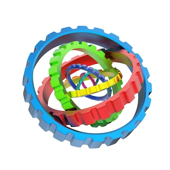 Mechanizm 3d różnych kolorowych kół zębatych na białym tle