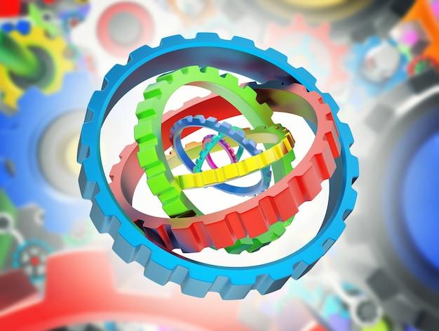 Mechanizm 3d różnych kolorowych kół zębatych