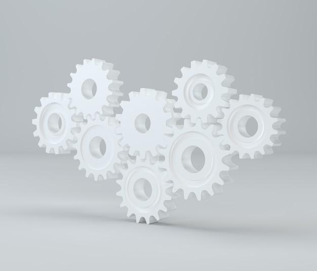 Mechanizm koła zębatego. koła zębate renderowania 3d