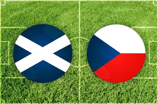 Mecz piłki nożnej między szkocją a republiką czeską