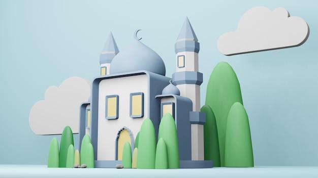 Meczet islamski wyświetlacz ilustracja 3d renderowania 3d