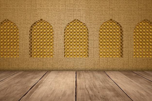 Meczet okno z drewnianą podłogą i teksturą tle