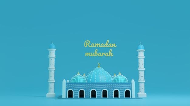 Meczet w kolorze niebieskim renderowania 3d, ramadan kareem