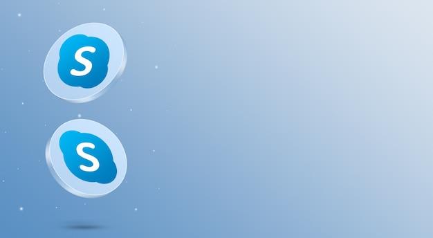 Media społecznościowe ikony skype renderowania 3d