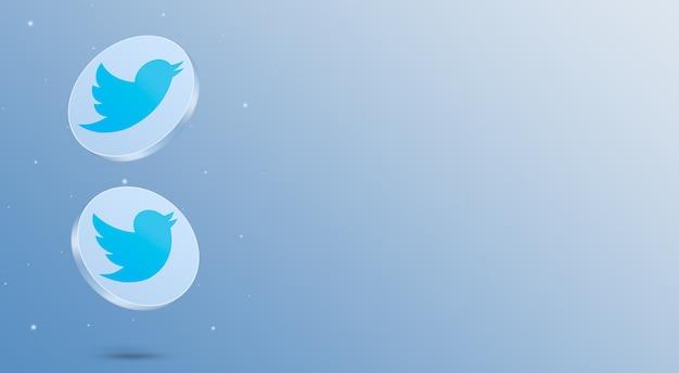 Media społecznościowe ikony twittera renderowania 3d