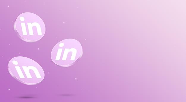 Media społecznościowe linkedin ikony renderowania 3d
