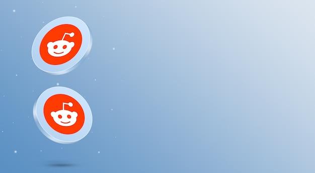 Media społecznościowe reddit ikony renderowania 3d
