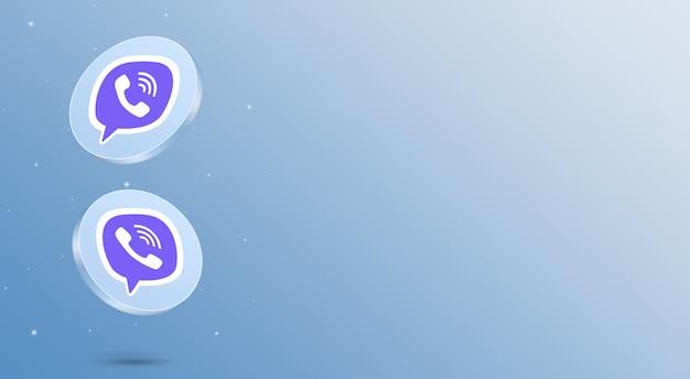 Media społecznościowe viber ikony renderowania 3d