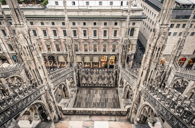 Mediolan, widok z lotu ptaka katedry z góry katedry