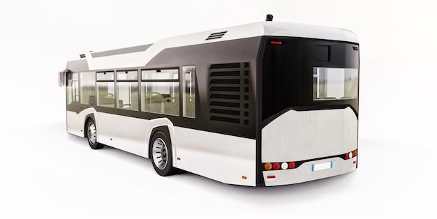 Mediun miejski biały autobus na na białym tle. renderowanie 3d.