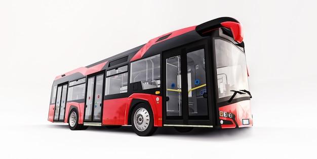 Mediun miejski czerwony autobus na białej odosobnionej przestrzeni. renderowania 3d.