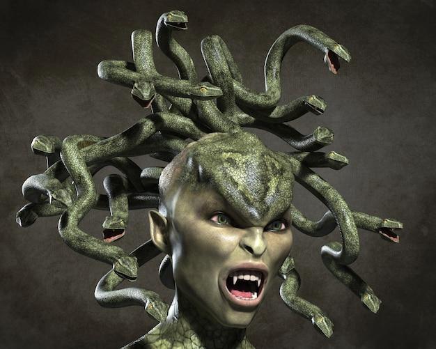 Meduza ohydnej gorgony. ilustracja 3d