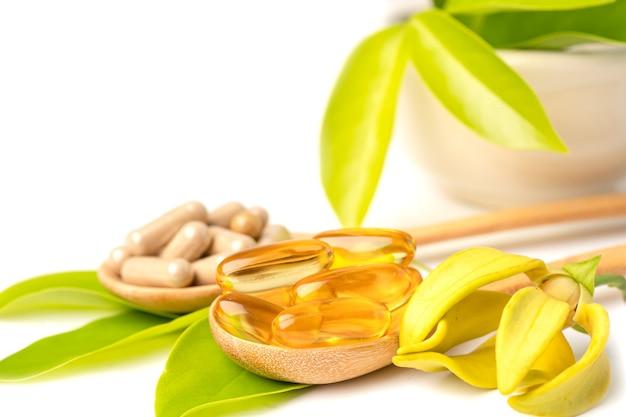 Medycyna alternatywna ziołowa organiczna kapsułka z witaminą e omega 3 olej rybny lek mineralny z ziołami