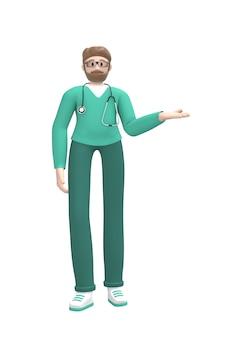 Medyczna postać młodego białego człowieka lekarki ręki mienia pustej dłoni strona. skopiuj miejsce osoba kreskówka na białym tle